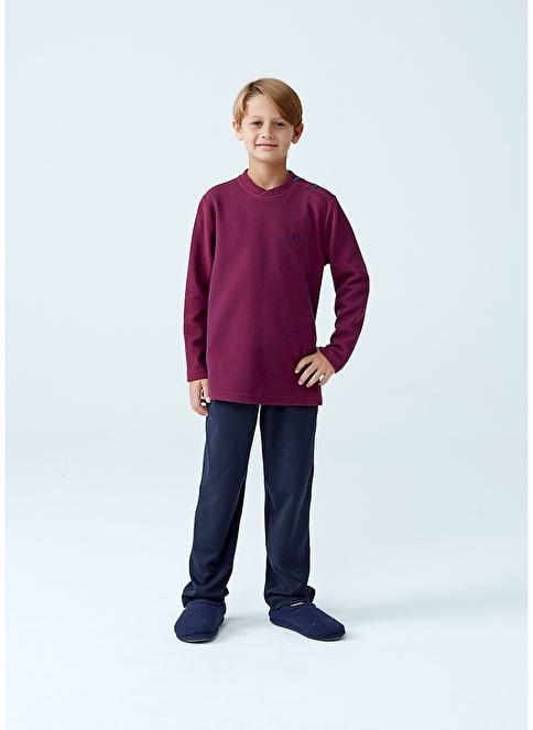 Dagi Erkek Çocuk O Yaka Uzun Kollu Pijama Takımı Kırmızı